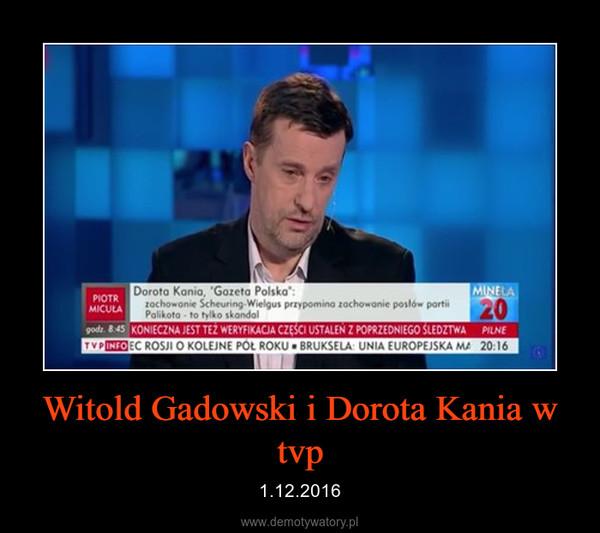 Witold Gadowski i Dorota Kania w tvp – 1.12.2016