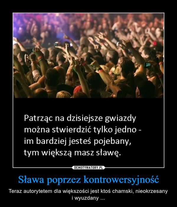 Sława poprzez kontrowersyjność – Teraz autorytetem dla większości jest ktoś chamski, nieokrzesany i wyuzdany ...