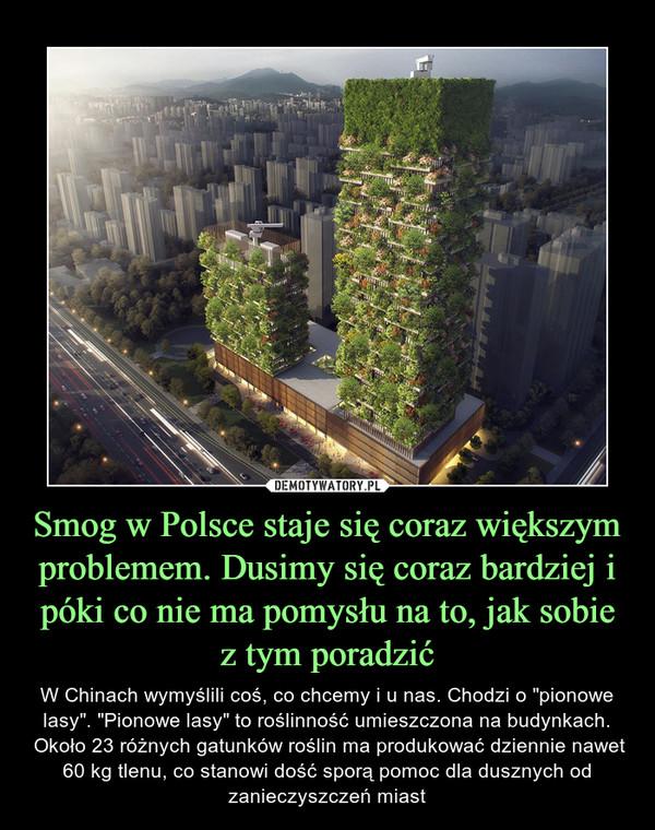 """Smog w Polsce staje się coraz większym problemem. Dusimy się coraz bardziej i póki co nie ma pomysłu na to, jak sobie z tym poradzić – W Chinach wymyślili coś, co chcemy i u nas. Chodzi o """"pionowe lasy"""". """"Pionowe lasy"""" to roślinność umieszczona na budynkach. Około 23 różnych gatunków roślin ma produkować dziennie nawet 60 kg tlenu, co stanowi dość sporą pomoc dla dusznych od zanieczyszczeń miast"""