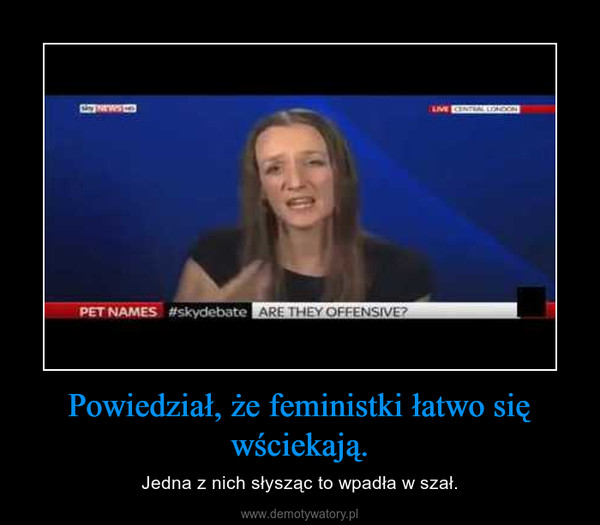 Powiedział, że feministki łatwo się wściekają. – Jedna z nich słysząc to wpadła w szał.