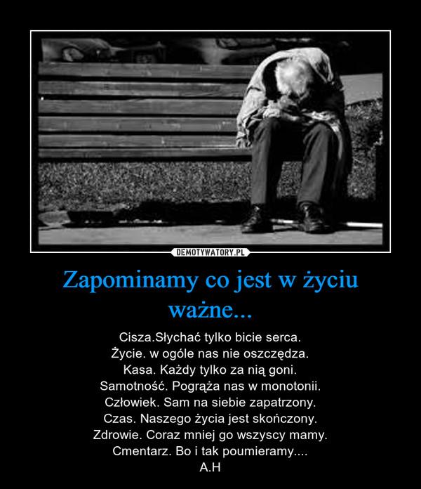 Zapominamy co jest w życiu ważne... – Cisza.Słychać tylko bicie serca.Życie. w ogóle nas nie oszczędza.Kasa. Każdy tylko za nią goni.Samotność. Pogrąża nas w monotonii.Człowiek. Sam na siebie zapatrzony.Czas. Naszego życia jest skończony.Zdrowie. Coraz mniej go wszyscy mamy.Cmentarz. Bo i tak poumieramy....A.H