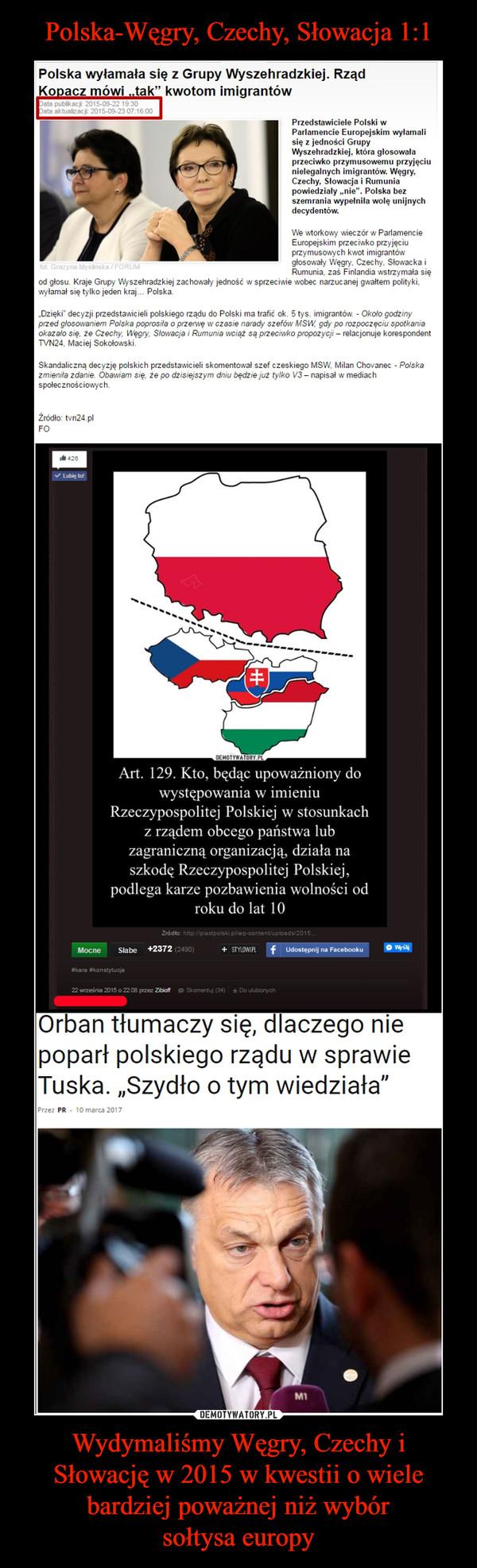 Wydymaliśmy Węgry, Czechy i Słowację w 2015 w kwestii o wiele bardziej poważnej niż wybórsołtysa europy –