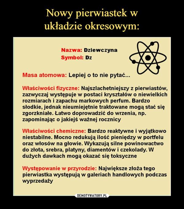 –  Nazwa: DziewczynaSymbol: DzMasa atomowa: Lepiej o to nie pytać...Właściwości fizyczne: Najszlachetniejszy z pierwiastków,zazwyczaj występuje w postaci kryształów o niewielkichrozmiarach i zapachu markowych perfum. Bardzosłodkie, jednak nieumiejętnie traktowane mogą stać sięzgorzkniałe. Łatwo doprowadzić do wrzenia, np.zapominając o jakiejś ważnej rocznicyWłaściwości chemiczne: Bardzo reaktywne i wyjątkowoniestabilne. Mocno redukują ilość pieniędzy w portfeluoraz włosów na głowie. Wykazują silne powinowactwodo złota, srebra, platyny, diamentów i czekolady. Wdużych dawkach mogą okazać się toksyczneWystępowanie w przyrodzie: Największe złoża tegopierwiastka występują w galeriach handlowych podczaswyprzedaży