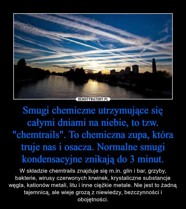 """Smugi chemiczne utrzymujące się całymi dniami na niebie, to tzw. """"chemtrails"""". To chemiczna zupa, która truje nas i osacza. Normalne smugi kondensacyjne znikają do 3 minut. – W składzie chemtrails znajduje się m.in. glin i bar, grzyby, bakterie, wirusy czerwonych krwinek, krystaliczne substancje węgla, kationów metali, litu i inne ciężkie metale. Nie jest to żadną tajemnicą, ale wieje grozą z niewiedzy, bezczynności i obojętności."""