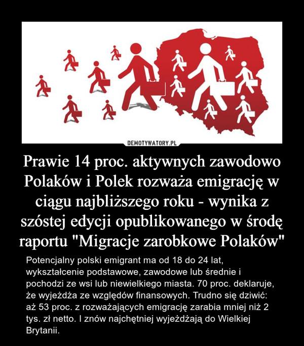 """Prawie 14 proc. aktywnych zawodowo Polaków i Polek rozważa emigrację w ciągu najbliższego roku - wynika z szóstej edycji opublikowanego w środę raportu """"Migracje zarobkowe Polaków"""" – Potencjalny polski emigrant ma od 18 do 24 lat, wykształcenie podstawowe, zawodowe lub średnie i pochodzi ze wsi lub niewielkiego miasta. 70 proc. deklaruje, że wyjeżdża ze względów finansowych. Trudno się dziwić: aż 53 proc. z rozważających emigrację zarabia mniej niż 2 tys. zł netto. I znów najchętniej wyjeżdżają do Wielkiej Brytanii."""