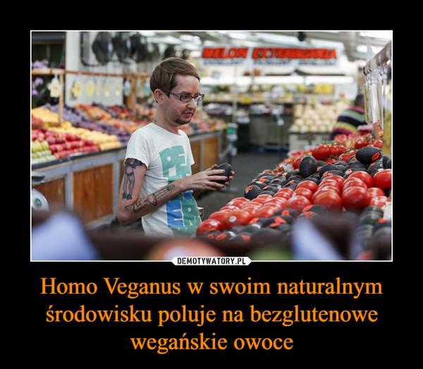 Homo Veganus w swoim naturalnym środowisku poluje na bezglutenowe wegańskie owoce –