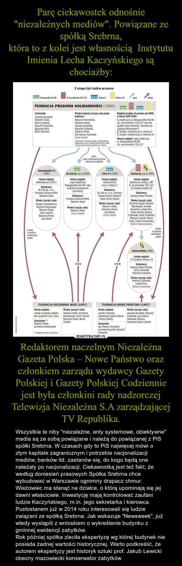 """Redaktorem naczelnym Niezależna Gazeta Polska – Nowe Państwo oraz członkiem zarządu wydawcy Gazety Polskiej i Gazety Polskiej Codziennie jest była członkini rady nadzorczej Telewizja Niezależna S.A zarządzającej TV Republika. – Wszystkie te niby """"niezależne, anty systemowe, obiektywne"""" media są ze sobą powiązane i należą do powiązanej z PiS spółki Srebrna. W czasach gdy to PiS najwięcej mówi o złym kapitale zagranicznym i potrzebie nacjonalizacji mediów, banków itd. zastanów się, do kogo będą one należały po nacjonalizacji. Ciekawostką jest też fakt, że według doniesień prasowych Spółka Srebrna chce wybudować w Warszawie ogromny drapacz chmur. Wieżowiec ma stanąć na działce, o którą upominają się jej dawni właściciele. Inwestycję mają kontrolować zaufani ludzie Kaczyńskiego, m.in. jego sekretarka i kierowca.  Pustostanem już w 2014 roku interesowali się ludzie związani ze spółką Srebrna. Jak wskazuje """"Newsweek"""", już wtedy wystąpili z wnioskiem o wykreślenie budynku z gminnej ewidencji zabytków.Rok później spółka zleciła ekspertyzę wg której budynek nie posiada żadnej wartości historycznej. Warto podkreślić, że autorem ekspertyzy jest historyk sztuki prof. Jakub Lewicki obecny mazowiecki konserwator zabytków"""