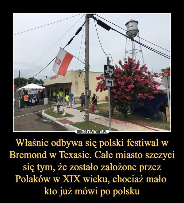 Właśnie odbywa się polski festiwal w Bremond w Texasie. Całe miasto szczyci się tym, że zostało założone przez Polaków w XIX wieku, chociaż mało kto już mówi po polsku –