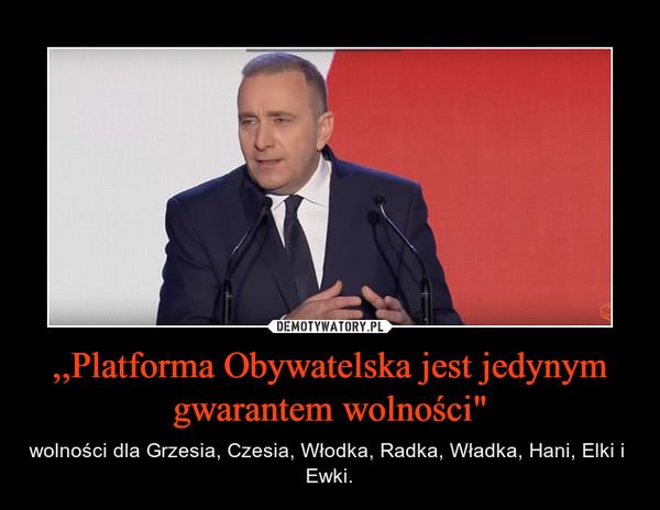""",,Platforma Obywatelska jest jedynym gwarantem wolności"""" – wolności dla Grzesia, Czesia, Włodka, Radka, Władka, Hani, Elki i  Ewki."""