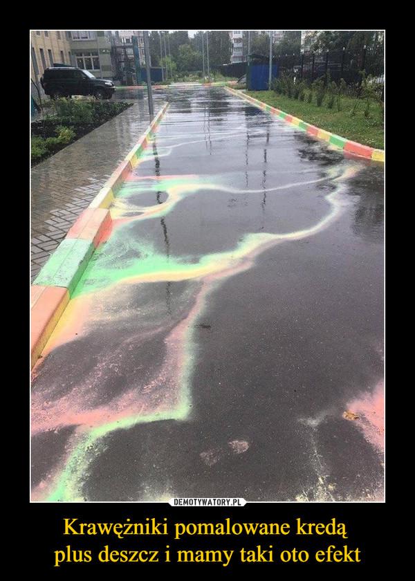 Krawężniki pomalowane kredą plus deszcz i mamy taki oto efekt –