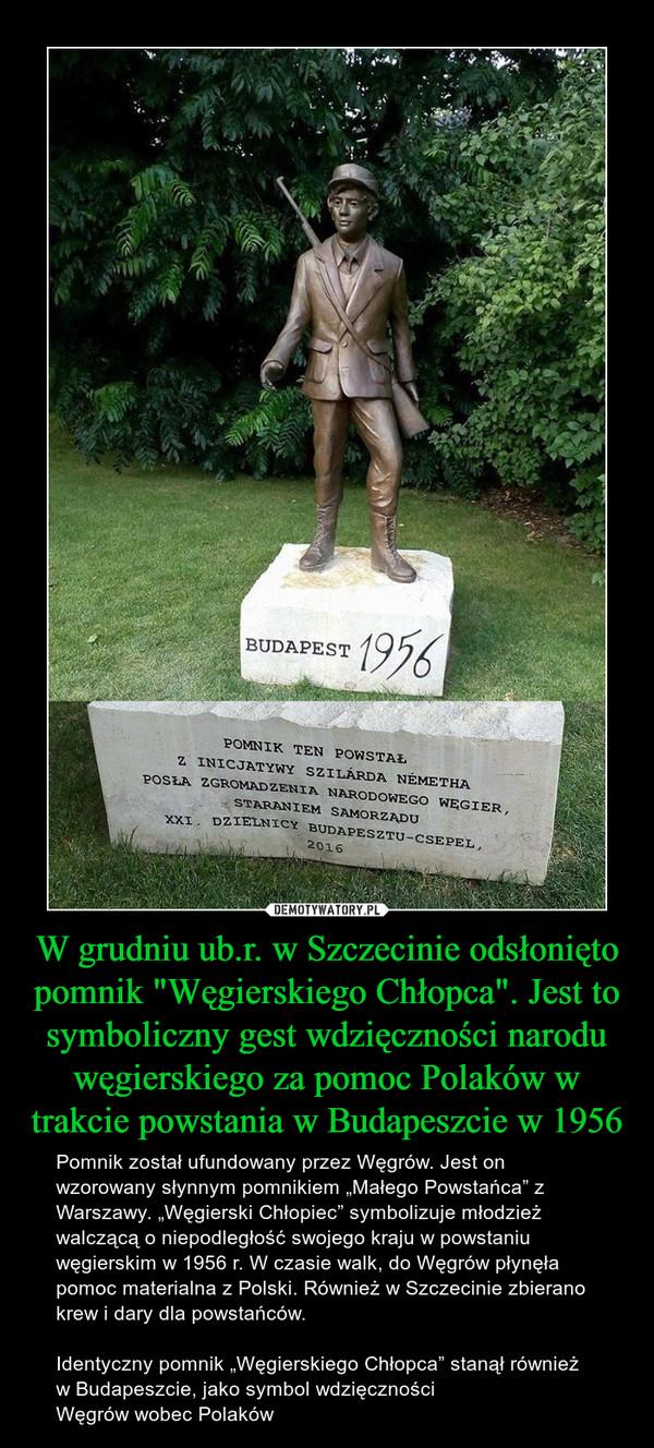 """W grudniu ub.r. w Szczecinie odsłonięto pomnik """"Węgierskiego Chłopca"""". Jest to symboliczny gest wdzięczności narodu węgierskiego za pomoc Polaków w trakcie powstania w Budapeszcie w 1956 – Pomnik został ufundowany przez Węgrów. Jest on wzorowany słynnym pomnikiem """"Małego Powstańca"""" z Warszawy. """"Węgierski Chłopiec"""" symbolizuje młodzież walczącą o niepodległość swojego kraju w powstaniu węgierskim w 1956 r. W czasie walk, do Węgrów płynęła pomoc materialna z Polski. Również w Szczecinie zbierano krew i dary dla powstańców.Identyczny pomnik """"Węgierskiego Chłopca"""" stanął również w Budapeszcie, jako symbol wdzięczności Węgrów wobec Polaków BUDAPEST 1956POMNIJ TEN POWSTAŁ Z INICJATYWY SZILARDA NEMETHA POSŁA ZGROMADZENIA NARODOWEGO WĘGIER, STARANIEM SAMORZĄDU XXI. DZIELNICY BUDAPESZTU - CSEPEL 2016"""
