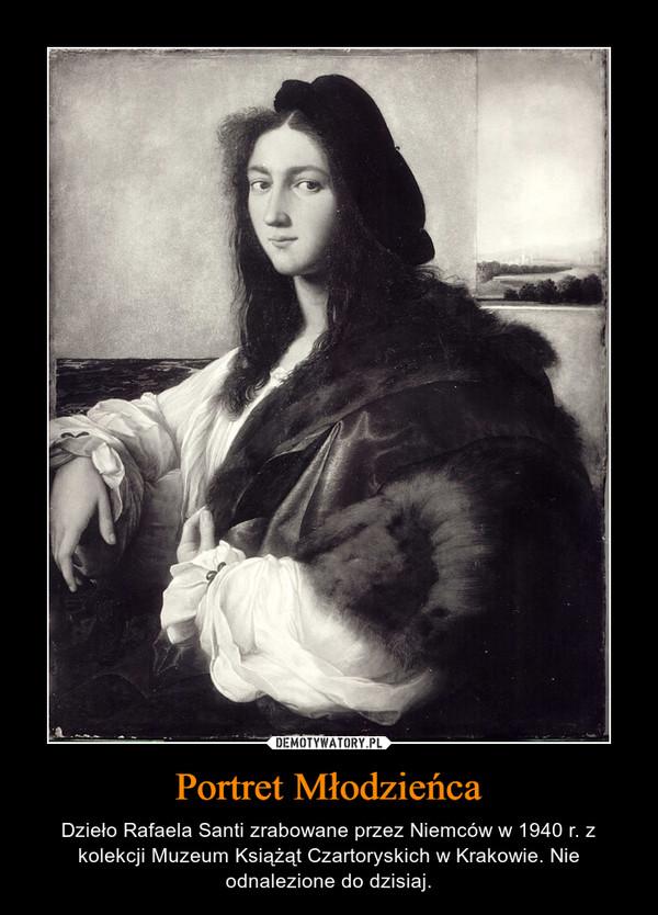 Portret Młodzieńca – Dzieło Rafaela Santi zrabowane przez Niemców w 1940 r. z kolekcji Muzeum Książąt Czartoryskich w Krakowie. Nie odnalezione do dzisiaj.
