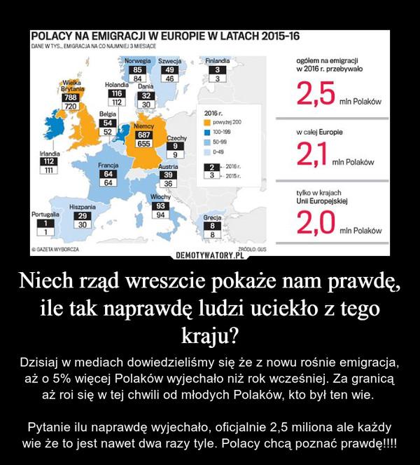 Niech rząd wreszcie pokaże nam prawdę, ile tak naprawdę ludzi uciekło z tego kraju? – Dzisiaj w mediach dowiedzieliśmy się że z nowu rośnie emigracja, aż o 5% więcej Polaków wyjechało niż rok wcześniej. Za granicą aż roi się w tej chwili od młodych Polaków, kto był ten wie. Pytanie ilu naprawdę wyjechało, oficjalnie 2,5 miliona ale każdy wie że to jest nawet dwa razy tyle. Polacy chcą poznać prawdę!!!!