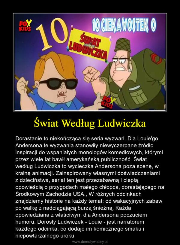 Świat Według Ludwiczka – Dorastanie to niekończąca się seria wyzwań. Dla Louie'go Andersona te wyzwania stanowiły niewyczerpane źródło inspiracji do wspaniałych monologów komediowych, którymi przez wiele lat bawił amerykańską publiczność. Świat według Ludwiczka to wycieczka Andersona poza scenę, w krainę animacji. Zainspirowany własnymi doświadczeniami z dzieciństwa, serial ten jest przezabawną i ciepłą opowieścią o przygodach małego chłopca, dorastającego na Środkowym Zachodzie USA., W różnych odcinkach znajdziemy historie na każdy temat: od wakacyjnych zabaw po walkę z nadciągającą burzą śnieżną. Każda opowiedziana z właściwym dla Andersona poczuciem humoru. Dorosły Ludwiczek - Louie - jest narratorem każdego odcinka, co dodaje im komicznego smaku i niepowtarzalnego uroku