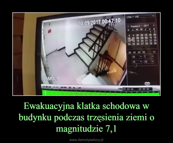 Ewakuacyjna klatka schodowa w budynku podczas trzęsienia ziemi o magnitudzie 7,1 –