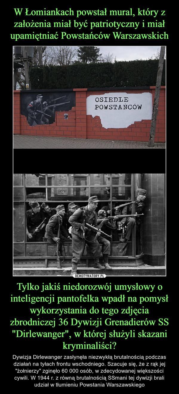 """Tylko jakiś niedorozwój umysłowy o inteligencji pantofelka wpadł na pomysł wykorzystania do tego zdjęcia zbrodniczej 36 Dywizji Grenadierów SS """"Dirlewanger"""", w której służyli skazani kryminaliści? – Dywizja Dirlewanger zasłynęła niezwykłą brutalnością podczas działań na tyłach frontu wschodniego. Szacuje się, że z rąk jej """"żołnierzy"""" zginęło 60 000 osób, w zdecydowanej większości cywili. W 1944 r. z równą brutalnością SSmani tej dywizji brali udział w tłumieniu Powstania Warszawskiego"""
