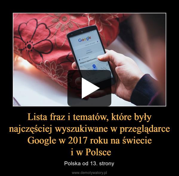 Lista fraz i tematów, które były najczęściej wyszukiwane w przeglądarce Google w 2017 roku na świecie i w Polsce – Polska od 13. strony