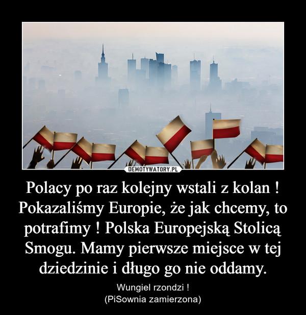 Polacy po raz kolejny wstali z kolan ! Pokazaliśmy Europie, że jak chcemy, to potrafimy ! Polska Europejską Stolicą Smogu. Mamy pierwsze miejsce w tej dziedzinie i długo go nie oddamy. – Wungiel rzondzi !(PiSownia zamierzona)