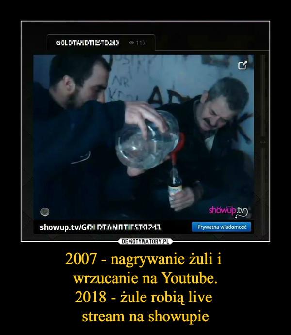 2007 - nagrywanie żuli i wrzucanie na Youtube.2018 - żule robią live stream na showupie –