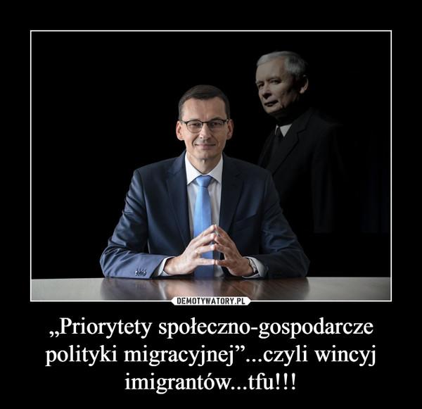 """""""Priorytety społeczno-gospodarcze polityki migracyjnej""""...czyli wincyj imigrantów...tfu!!! –"""