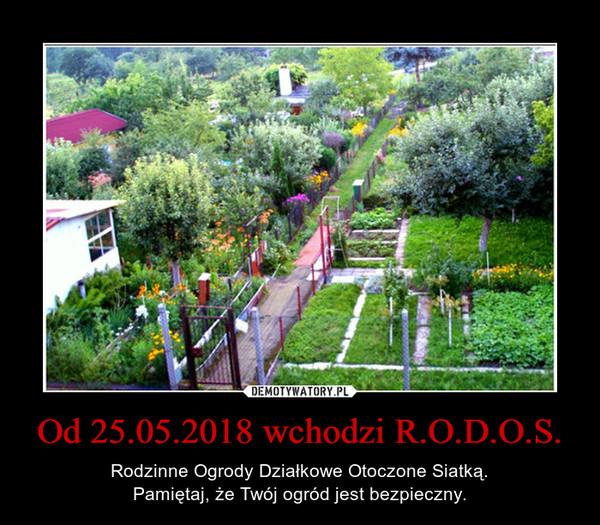 Od 25.05.2018 wchodzi R.O.D.O.S. – Rodzinne Ogrody Działkowe Otoczone Siatką.Pamiętaj, że Twój ogród jest bezpieczny.