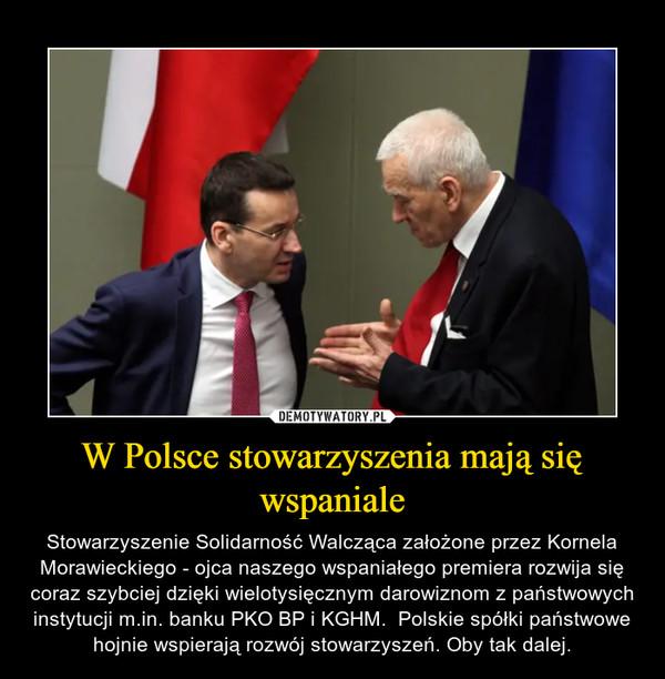 W Polsce stowarzyszenia mają się wspaniale – Stowarzyszenie Solidarność Walcząca założone przez Kornela Morawieckiego - ojca naszego wspaniałego premiera rozwija się coraz szybciej dzięki wielotysięcznym darowiznom z państwowych instytucji m.in. banku PKO BP i KGHM.  Polskie spółki państwowe hojnie wspierają rozwój stowarzyszeń. Oby tak dalej.