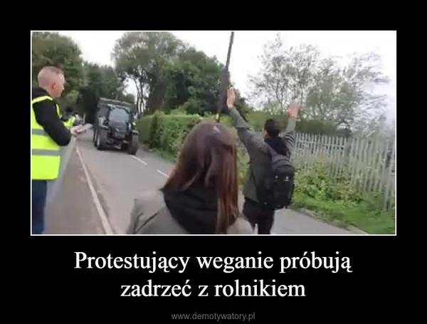 Protestujący weganie próbujązadrzeć z rolnikiem –