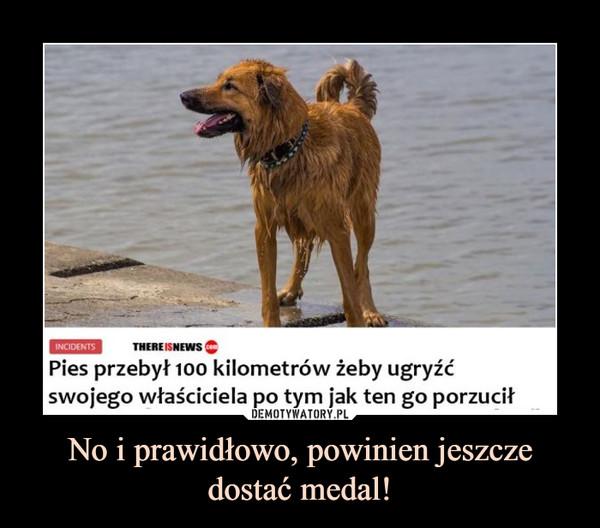 No i prawidłowo, powinien jeszcze dostać medal! –