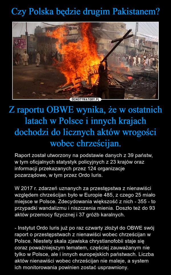 Z raportu OBWE wynika, że w ostatnich latach w Polsce i innych krajach dochodzi do licznych aktów wrogości wobec chrześcijan. – Raport został utworzony na podstawie danych z 39 państw, w tym oficjalnych statystyk policyjnych z 23 krajów oraz informacji przekazanych przez 124 organizacje pozarządowe, w tym przez Ordo Iuris. W 2017 r. zdarzeń uznanych za przestępstwa z nienawiści względem chrześcijan było w Europie 485, z czego 25 miało miejsce w Polsce. Zdecydowania większość z nich - 355 - to przypadki wandalizmu i niszczenia mienia. Doszło też do 93 aktów przemocy fizycznej i 37 gróźb karalnych.- Instytut Ordo Iuris już po raz czwarty złożył do OBWE swój raport o przestępstwach z nienawiści wobec chrześcijan w Polsce. Niestety skala zjawiska chrystianofobii staje się coraz poważniejszym tematem, częściej zauważanym nie tylko w Polsce, ale i innych europejskich państwach. Liczba aktów nienawiści wobec chrześcijan nie maleje, a system ich monitorowania powinien zostać usprawniony.