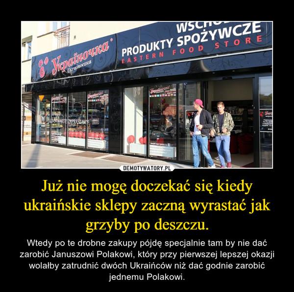 Już nie mogę doczekać się kiedy ukraińskie sklepy zaczną wyrastać jak grzyby po deszczu. – Wtedy po te drobne zakupy pójdę specjalnie tam by nie dać zarobić Januszowi Polakowi, który przy pierwszej lepszej okazji wolałby zatrudnić dwóch Ukraińców niż dać godnie zarobić jednemu Polakowi.