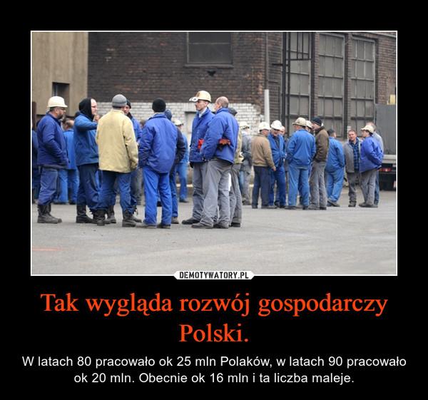 Tak wygląda rozwój gospodarczy Polski. – W latach 80 pracowało ok 25 mln Polaków, w latach 90 pracowało ok 20 mln. Obecnie ok 16 mln i ta liczba maleje.