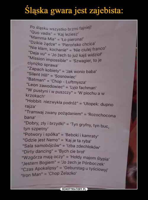 Śląska gwara jest zajebista:
