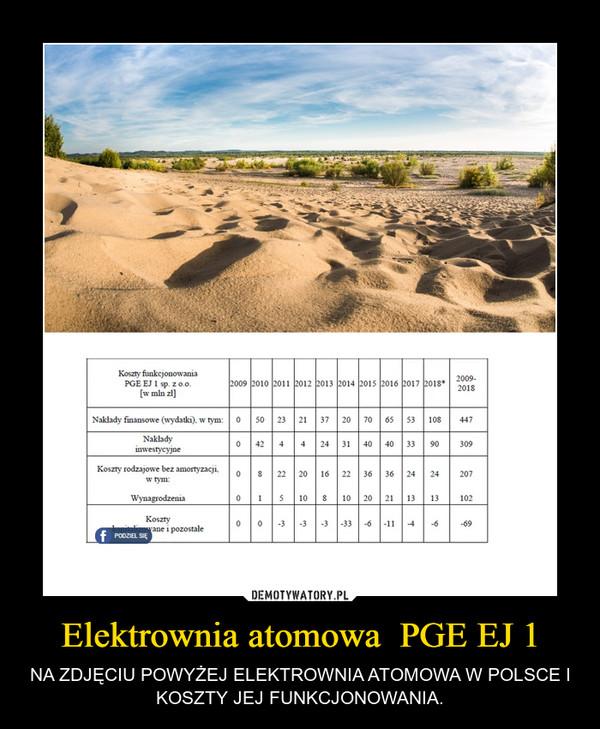 Elektrownia atomowa  PGE EJ 1 – NA ZDJĘCIU POWYŻEJ ELEKTROWNIA ATOMOWA W POLSCE I KOSZTY JEJ FUNKCJONOWANIA.
