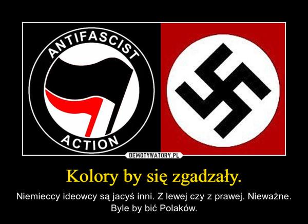 Kolory by się zgadzały. – Niemieccy ideowcy są jacyś inni. Z lewej czy z prawej. Nieważne. Byle by bić Polaków.