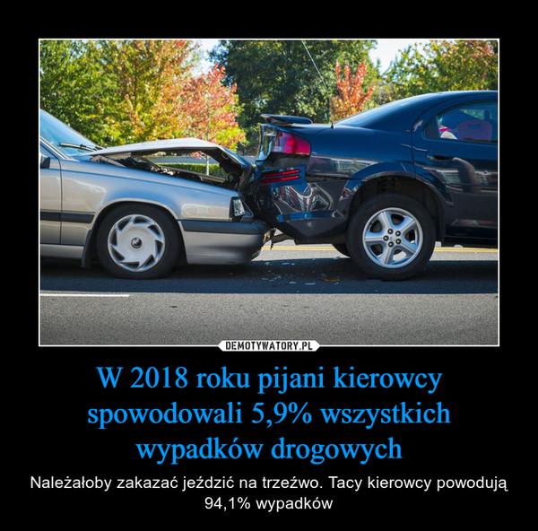 W 2018 roku pijani kierowcy spowodowali 5,9% wszystkich wypadków drogowych – Należałoby zakazać jeździć na trzeźwo. Tacy kierowcy powodują 94,1% wypadków
