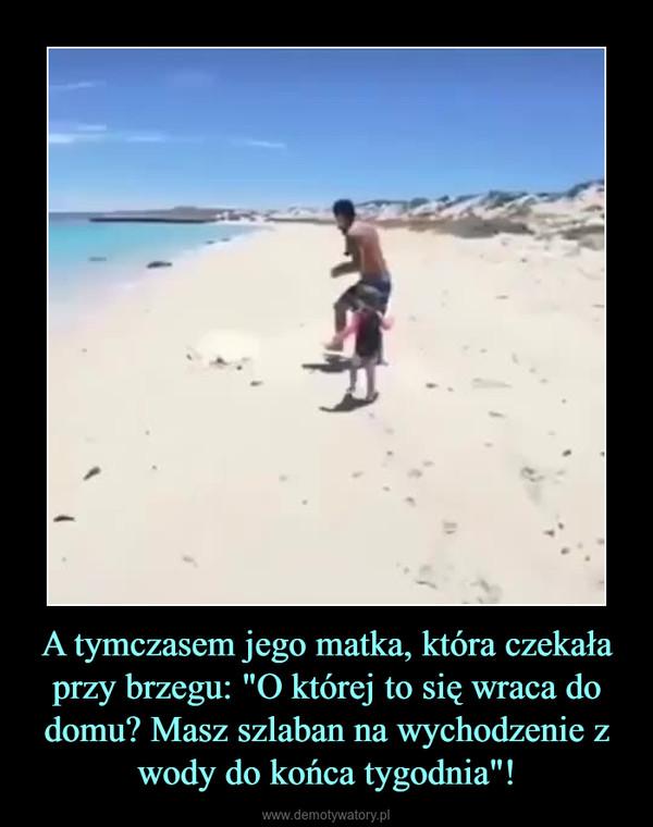 """A tymczasem jego matka, która czekała przy brzegu: """"O której to się wraca do domu? Masz szlaban na wychodzenie z wody do końca tygodnia""""! –"""