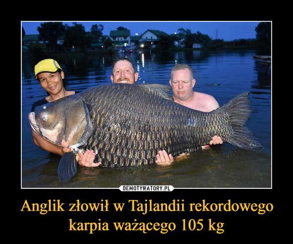 Anglik złowił w Tajlandii rekordowego karpia ważącego 105 kg –