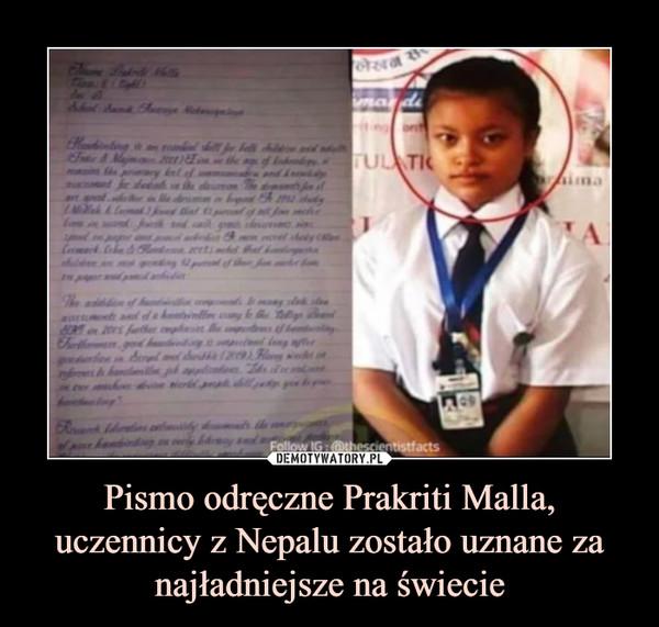 Pismo odręczne Prakriti Malla, uczennicy z Nepalu zostało uznane za najładniejsze na świecie –