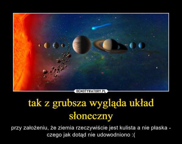 tak z grubsza wygląda układ słoneczny – przy założeniu, że ziemia rzeczywiście jest kulista a nie płaska - czego jak dotąd nie udowodniono :(