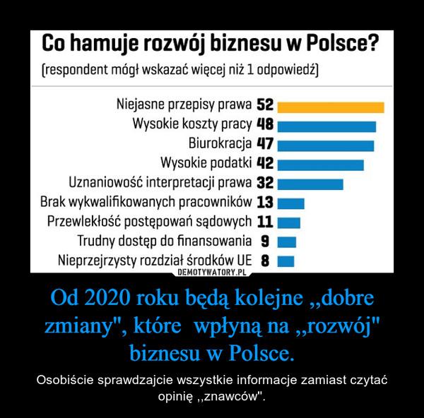 Od 2020 roku będą kolejne ,,dobre zmiany'', które  wpłyną na ,,rozwój'' biznesu w Polsce. – Osobiście sprawdzajcie wszystkie informacje zamiast czytać opinię ,,znawców''.