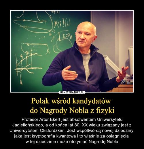 Polak wśród kandydatów  do Nagrody Nobla z fizyki