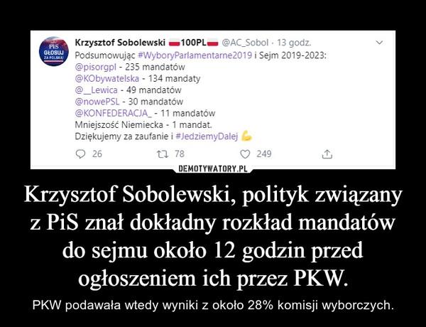 Krzysztof Sobolewski, polityk związany z PiS znał dokładny rozkład mandatów do sejmu około 12 godzin przed ogłoszeniem ich przez PKW. – PKW podawała wtedy wyniki z około 28% komisji wyborczych.