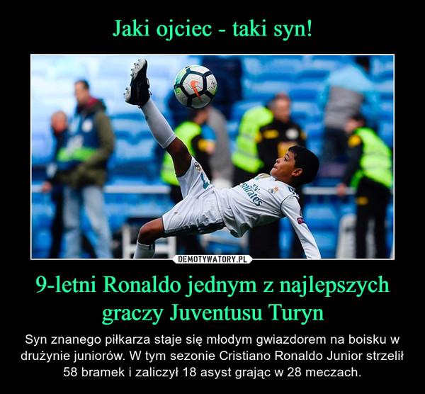 9-letni Ronaldo jednym z najlepszychgraczy Juventusu Turyn – Syn znanego piłkarza staje się młodym gwiazdorem na boisku w drużynie juniorów. W tym sezonie Cristiano Ronaldo Junior strzelił 58 bramek i zaliczył 18 asyst grając w 28 meczach.
