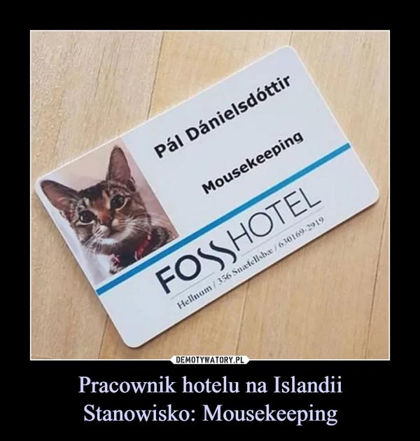 Pracownik hotelu na IslandiiStanowisko: Mousekeeping –