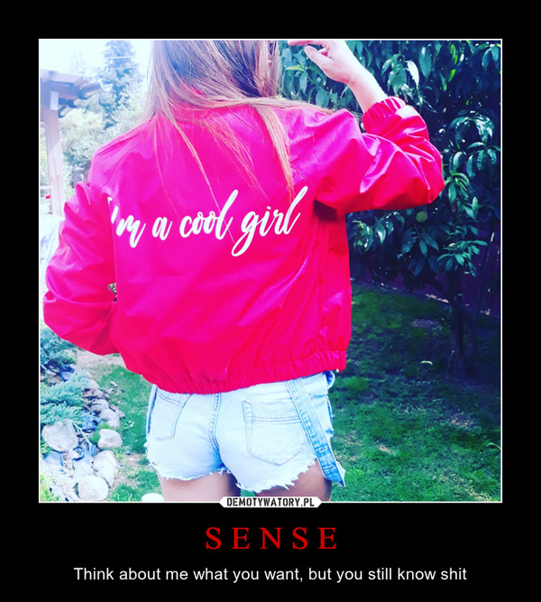 S E N S E – Think about me what you want, but you still know shit