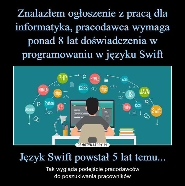 Język Swift powstał 5 lat temu... – Tak wygląda podejście pracodawcówdo poszukiwania pracowników
