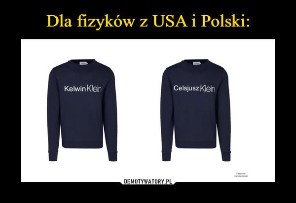 –  Dla fizyków z USA i Polski:Celsjusz KleinKelwin Klein