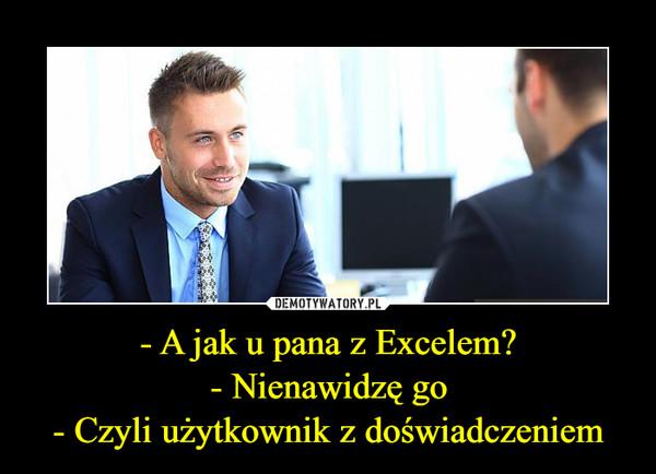 - A jak u pana z Excelem?- Nienawidzę go- Czyli użytkownik z doświadczeniem –