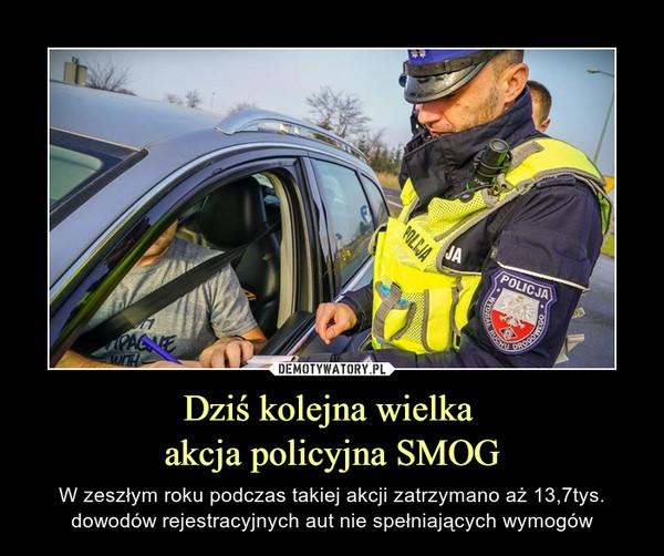 Dziś kolejna wielka akcja policyjna SMOG – W zeszłym roku podczas takiej akcji zatrzymano aż 13,7tys. dowodów rejestracyjnych aut nie spełniających wymogów