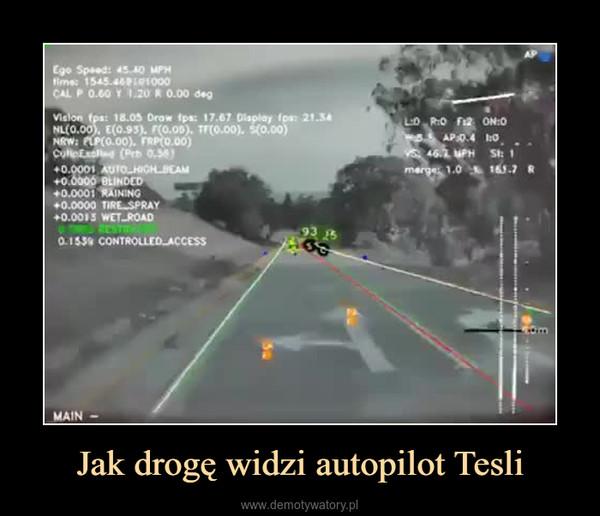 Jak drogę widzi autopilot Tesli –